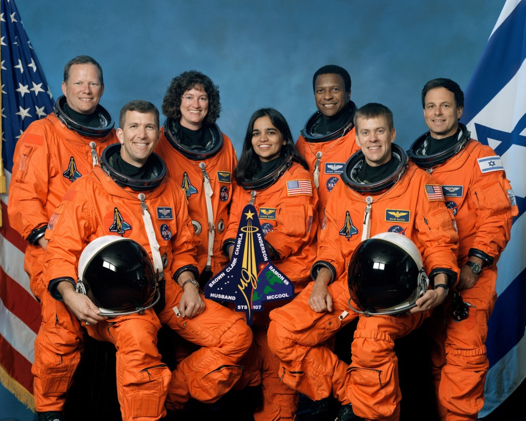 From the left, Mission Specialist David Brown, Commander Rick Husband, Mission Specialists Laurel Clark, Kalpana Chawla and Michael Anderson, Pilot William McCool and Payload Specialist Ilan Ramon.